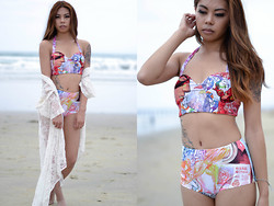 Mariel Cornel - Romewe Comic Book Bathing Suit, Foreign Exchange Lace Kimono - Jump Off the Deep End