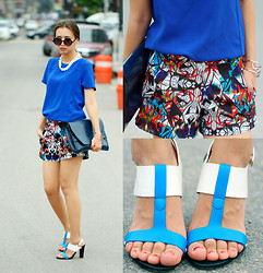 Queen Horsfall - Greedilous Print Short, Forever 21 Electric Blue, New Look White Chunky - Colorblock (Greedilous)
