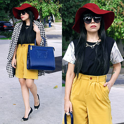 Priscila Diniz - Houndstooth Coat, Sunglasses, Hat, Holographic Top, Mustard Shorts, Necklace (Details Below), Blue Leather Bag - When there is darkness,dare to be the first to shine a light