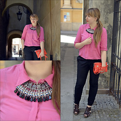 Mary Kate K. - Cropp Black Classic Pants, Marc By Jacobs Orange Bag, Gap Pink Shirt, Zara Necklage - Rainbow Arabia - Without You