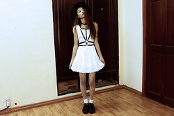 Vu Thien - Wholesale7 Dress, Choies Harness, Wholesale7 White Tights, T.U.K Creepers - LOVE OUT OF LUST