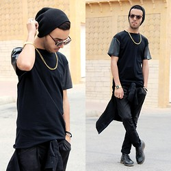 Faissal Yartaa - Genuine By Anthony Leather Sleeve Tee, Genuine By Anthony Exclusive Gold Chain, Giant Vintage - BACK TO BLACK