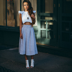 Jessica Wang - Joa Skirt, Viva Aviva Top, Sam Edelman Shoes, Vanessa Mooney Necklace - Fall in love when you are ready, not when you are lonely