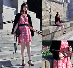 Noree Anne Celine - Talis Baroque Print Dress, New Look Wine Red Bag, M&S Red Crystal Bracelet, Dressale Burgundy And Black Shoes - Weekend at Nantes Pt.2