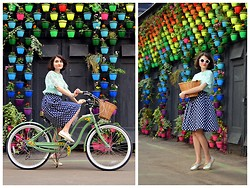 Veronica Agapova - Chic Wish Chicwish Lace Top, Concept Club Full Skirt With Apple Print, Carlo Pazolini My Favorite Shoes, Asos Kitty Sunglasses, Schwinn Hollywood Bike - A girl with a green bike