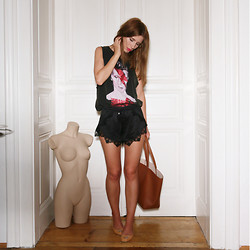 Monika Warholá - Mango Bowie Top, Bershka Lace Shorts, H&M Shopper, H&M Flats - I can't explain