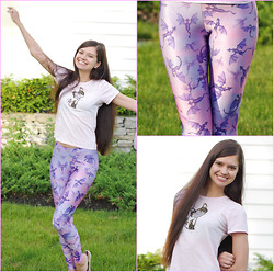 Valentina - Black Milk Clothing Here Be Dragons Leggings, Fuzzy And Glittery Cat T Shirt - Dragons on my Leggings