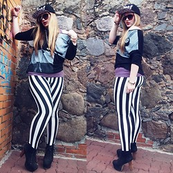 Viktoria K - Frontrowshop Top, Frontrowshop Striped Leggings - A little punk never hurt nobody