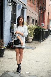 Erica Lavelanet - Asos Grey Sweater, Windsor Store Black Lace Skirt, Mary Lai Ava Black Clutch - Sweaters and Lace