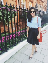 N T - Black Pleated Skirt, Blue Box Top, Zara Orange Bag, Leopard Shoes - Pleated