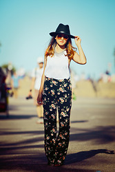 Susan Nguyen - Forever 21 Floral Print Pants, Urban Outfitters Wide Rim Hate - Take time to smell the flowers