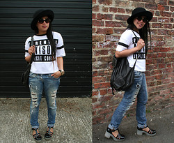 MyStyleStories X - Primark Statement Tee, Topshop Round, River Island Backpack, Asos Gladiator - Wear It, Don't say It