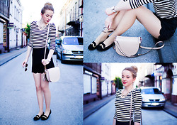 Aleksandra Kupis - Frontrowshop Shorts With Scallop Hem, Black Loafers With Moustache, Pale Pink Bag, H&M Pale Peach Necklace From, H&M Striped Blouse From - Runaway