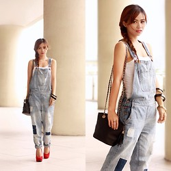 Marj Ramos - Forever 21 Denim Overalls, Mango Tank Top, Sugarfree Red Pumps - Forever Young