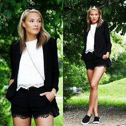 Petra Karlsson - Lace Vest, Kappahl Blazer, Mas(Que)Nada Bag, Michael Kors Watch, Shorts, Glasses, Shoes - Lazy lace