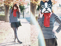 Melina Souza - Zara Top, C&A Skirt, Oasap Bulldog Bag - Sailor Bulldog