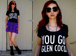 "Michelle Blue - Zerouv Round Vintage Style Sunglasses, Mean Girls Cropped Graphic T Shirt, Mossimo Purple High Waist Printed Skater Skirt, Banana Bay Black Combat Boots - ""Four For You, Glen Coco."""