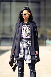 Margaret Zhang - Antoint + Stanley Mirror Sunglasses, Patricia Chang Tinsel Sweater, Elliatt Cape, Serpent & The Swan Checked Shirt, Zimmermann Mirror Skirt, Moda Operandi X Clare Vivier Rugby Clutch - Papa Bear