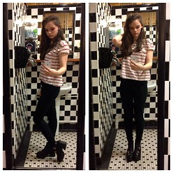 Gemma Hanham - New Look Black Skinny Jeans, Core Block Heel Boots, H&M Striped Top - Simple Stripes