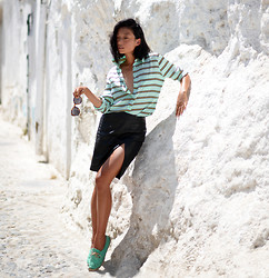 Margaret Zhang - Equipment Striped Silk Shirt, Bec & Bridge Split Skirt, Frontrowshop Super Duper Sunglasses, Soludos Espadrilles - Hola Granada