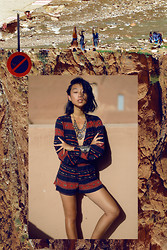 Margaret Zhang - Planet Blue Aztec Playsuit, Natalie B Bead Necklace, Natalie B Stone Cuff - Todra Gorge