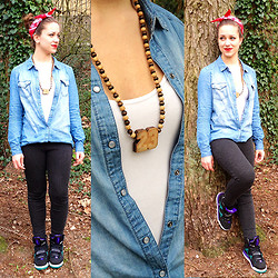 About Beauty and Fashion - Wood Fellas 23 Necklace, Only Denim Blouse, Bershka Grey Legging, H&M Top, Nike Jordans - Denim with a Touch of Red