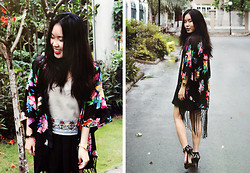 Thao Dominic - Forever 21 Kimono, Tommy Hilfiger Camisole, Local Store Skirt, Thrifted Heels Sandals - Floral
