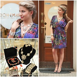 Bohemart - Michaela Sura Peacock Dress, Lilien Czech Statement Necklace, Lilien Czech Bracelet - Lets go outside...