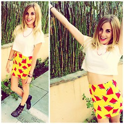 Brittany Shae - Tobi Basic White Cropped Tee, Nasty Gal Juicy Fruit Watermelon Skirt, Tobi Studded Ankle Booties - Juicy Fruit