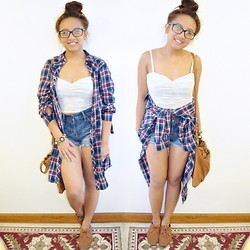 Jennifer Tamayo - Forever 21 Lace Bustier, Forever 21 Long Patriotic Plaid Button Down, Hollister High Waisted Jean Shorts, Forever 21 Gold Flower Chain Bracelet, Forever 21 Tan Messenger Bag - Patriotic Summer Look