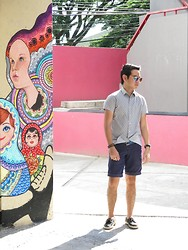 Jay Guevarra - H&M Aviators, Splash Printed Button Down - Street Art