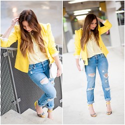 MELODY La Minute Fashion - Zara Jacket, Zara Boyfriend Jeans, Zara Top, Minelli High Heels - Hello yellowww !