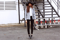 Vu Thien - Thrift Store Blazer, Blackfive Blouse, Zara Jeans, Young Hungry Free Floppy Hat, Dr. Martens Boots - LOVE IS DEAD