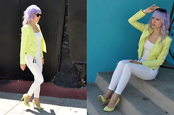 Super Holly - Club Monaco White Pants, Forever 21 Super Nifty Fluorescent Blazer, Club Monaco Sunnies For Every Occasion, Tiffany & Co. Bone Bracelet, Forever 21 Suede Heels, Zara Basic Lined Tank - Permanent amnesia