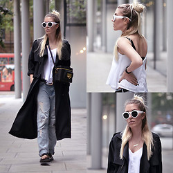 Dena T. - Frontrowshop Long Trench Coat, Sheinside Strap Vest, Sheinside White Shades - TODAY's CASUAL