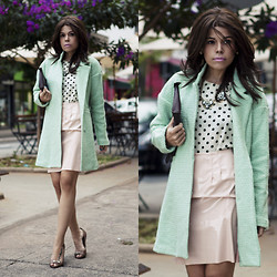 Priscila Diniz - Mint Coat, Shirt, Skirt (Similar), Necklace, Shoes, Photo - Pastel Tones