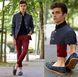 "Matthias C. - Cavalier Bleu Mao Collar Jacket, Dries Van Noten Sponge Polo, Asos Skinny Jeans, Pepe Jeans Two Tone Boat Shoes - ""Long"""