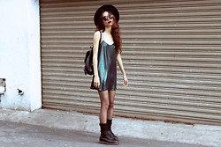 Vu Thien - Motel Dress, Dr. Martens Boots - IRIDESCENT