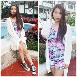 Angeline Ng - Cotton On Tribal Romper, Cotton On Knit Cardigan, Converse Black High Tops - Cozy Summer
