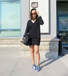 Alexis Coronado - Gap Pullover, American Eagle Lace Skirt, Nike Roshe Run, Alexander Wang Rocco - Back to Black