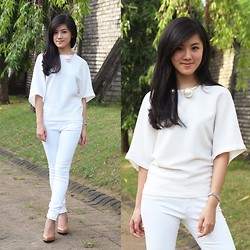 Brigitta Monique - Zara Bat Wing Top, Zara White Pants, Charles And Keith Nude Acrylic Wedges - White Obsession
