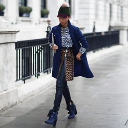 Margaret Zhang - Preston & Olivia Bobble Hat, Mania Tassel Necklace, Whistles Leopard Shirt, Whistles Leopard Split Skirt, Whistles Leopard Coat, River Island Leather Leggings, Tibi Buckle Boots - Bob's your Uncle