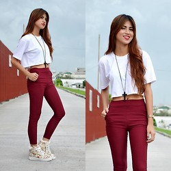Jennica Sanchez - Scene Stealer Ira Floral Sneaker, Teen Idle Cropped Top, Designed By Me High Waist Maroon Pants, Forever 21 Cross Necklace - Chill