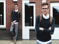Martin Bonke - Acne Studios White Shirt, Pull & Bear Basic Sweater, American Apparel Trousers, Vintage Shoes - Silver Lining.
