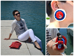 "Miss Dee STyle - Zara Navy Summer Sweater, Zara White Capri Pants, Iwanine Rukotvorine, Croatia Handmade Navy Anchor Earrings, Bebuse Hand Made, Croatia Handmade ""Sailor Girl"" Ring, Red Leather Handbag, H&M Black Ballet Flats - Sailor Girl !"