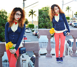 Elsa Lucía Flores - Elsa Lucia Diy Ocre Bow Tie, Ccp Petite Flowered Yellow Button Up Shirt, Aeropostal Blue Navy Slim Fit Cardigan, Thrifted Vintage Blue Clutch, Ccp Orange Skinny Jeans, Vans Authentic Era Dark Blue - Sunday Morning
