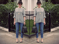 LOLLI MAHON - River Island Round Sunglasses, Topshop Rough Knit Jumper - GREY DAY.