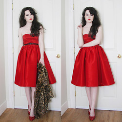 Abbey - Chic Wish Party Dress, Sirens Patent Belt, Dots Faux Fur Coat, Diy Glitter Pumps - Honey, put on that party dress