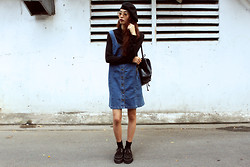 Vu Thien - Wholesale7 Top, Blackfive Denim Dress, T.U.K Creepers, Young Hungry Free Beret Hat - PAINTER