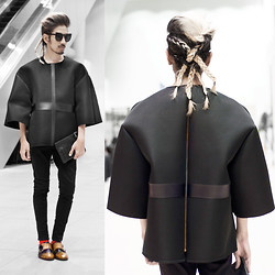 Andre Judd - Mara Chua Oversized Neoprene Top With Leather Panels, Mark Familara Braided Hair, Comme Des Garçons Clutch - BLACKED OUT